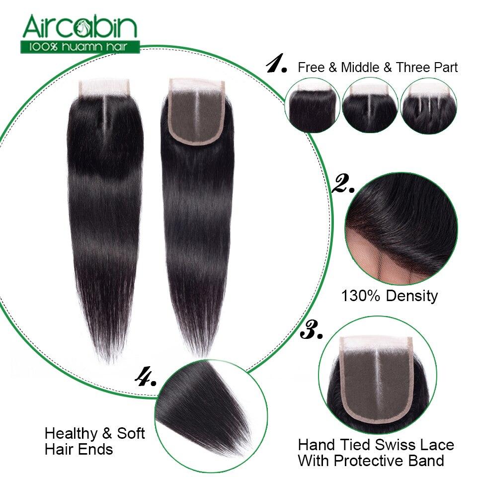 Aircabin Straight Hair Bundles With Closure Remy Hair 3 Bundles Peruvian Hair Extensions Natural Black Free Shipping