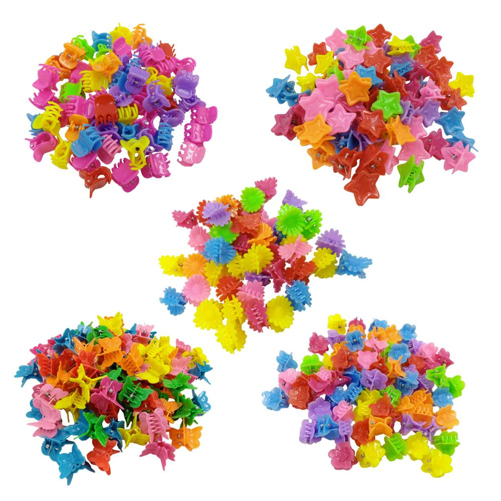 10 Pcs/Lot Cute Blossom Shell Star Butterfly Hair Claw For Women Girls Hairpins Candy Color Plastic Hair Clips Hair Accessories