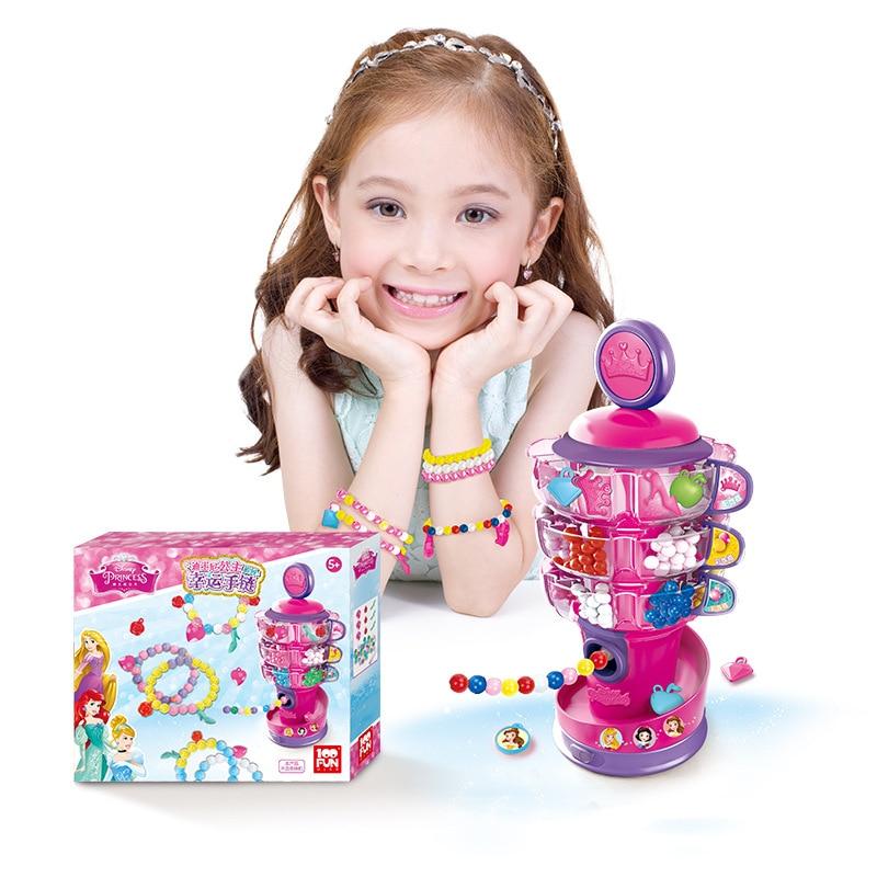 Disney Princess Chuan Chuan Zhu Children Handmade DIY Wear Beads Toy GIRL'S Lucky Bracelets Material Box 2127
