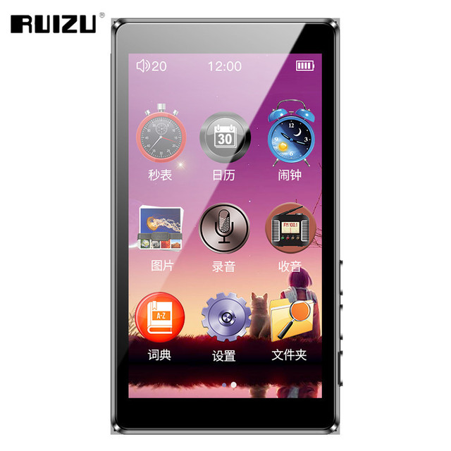RUIZU D20 MP3 player mp3 music player portable mp slim 3 inch touch keys  FM radio e books  1080p video Hifi 8G MP3