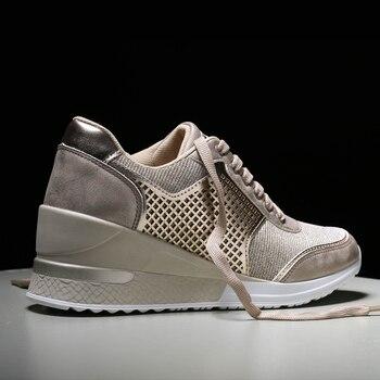 Women Height Increasing Walking Jogging Sneakers 6.5 CM Increase Gold Silver Ladies Sport Running Shoes Comfortable Girl Shoes