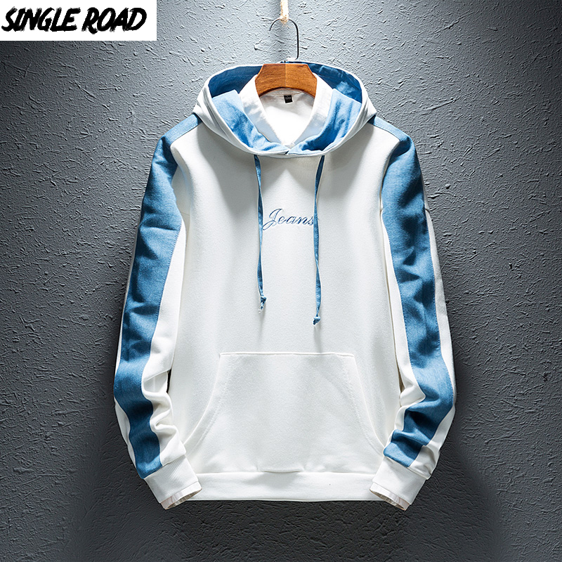 SingleRoad Men's Hoodies Men 2019 Side Stripe Hip Hop Harajuku Japanese Streetwear Man Sweatshirts Male White Hoodie Sweatshirt