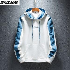 Image 1 - SingleRoad Mens Hoodies Men 2019 Side Stripe Hip Hop Harajuku Japanese Streetwear Man Sweatshirts Male White Hoodie Sweatshirt
