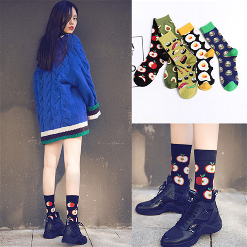 Happy Sock Fresh Fruits Socks Colorful Women Fashion Avocado Sushi Apple Hamburger Harajuku Print Art Calcetines Mujer