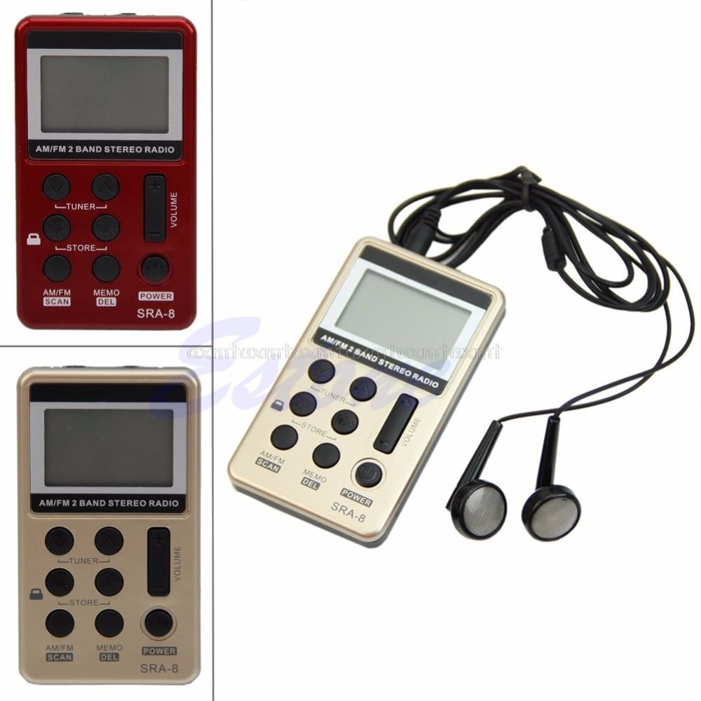 Mini Portable AM/FM 2 Band Digital Tuning Radio Stereo Receiver +Earphone DC 5V N08 19 Dropship