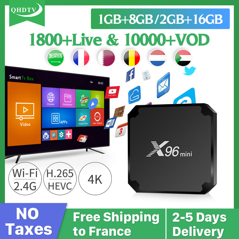 IPTV France Arabic German Subscription 1 Year QHDTV X96 MINI Box Android S905W IPTV Belgium Netherlands French Arabic IP TV