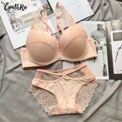 Cynthra Ondergoed Voor Vrouwen Sexy Kant Push Up Bralette Gedeelte Ademend Vrouwelijke Grote Ondergoed Set Plus Size Lingerie Beha