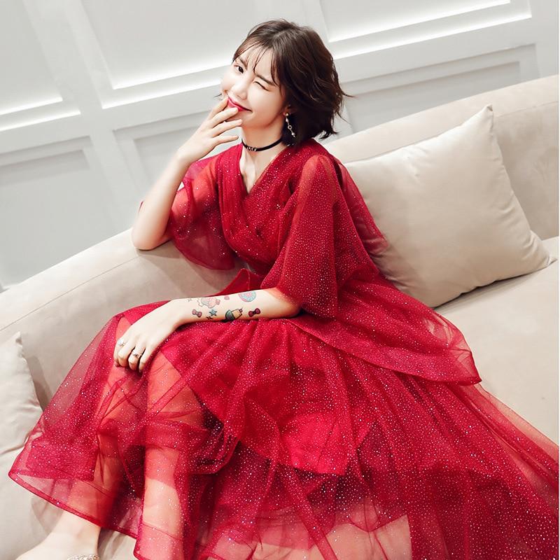 Burgundy Sequins Elegant Lace Trumpet Sleeve  Hidden Zipper Wedding Party Dress Prom Gown  Vestidos