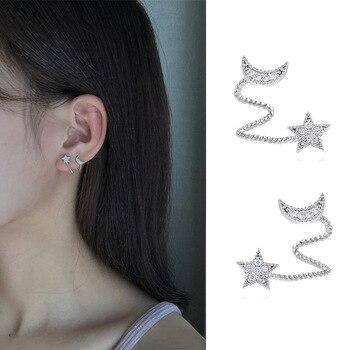 Pendientes de plata de primera ley con forma de luna y estrella...