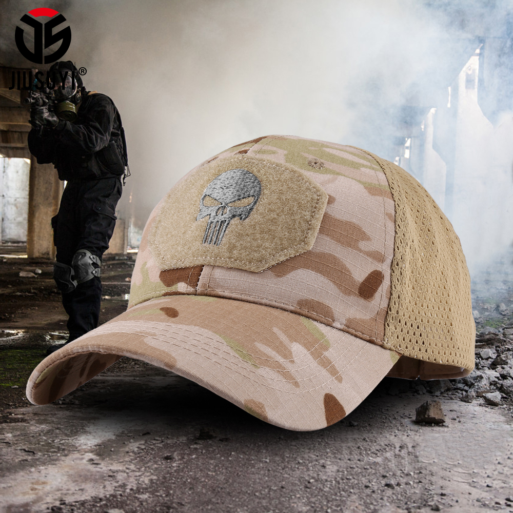 Military Skull Baseball Caps Ghost Camouflage Tactical Army Combat Paintball Adjustable Cap Summer Sun Hats Men Women Fashion