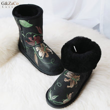 G&Zaco Luxury Sheepskin Snow Boots Embroidery Printing Black Women Waterproof Wool Boots Mid Calf Sheep Fur Flat Winter Shoes