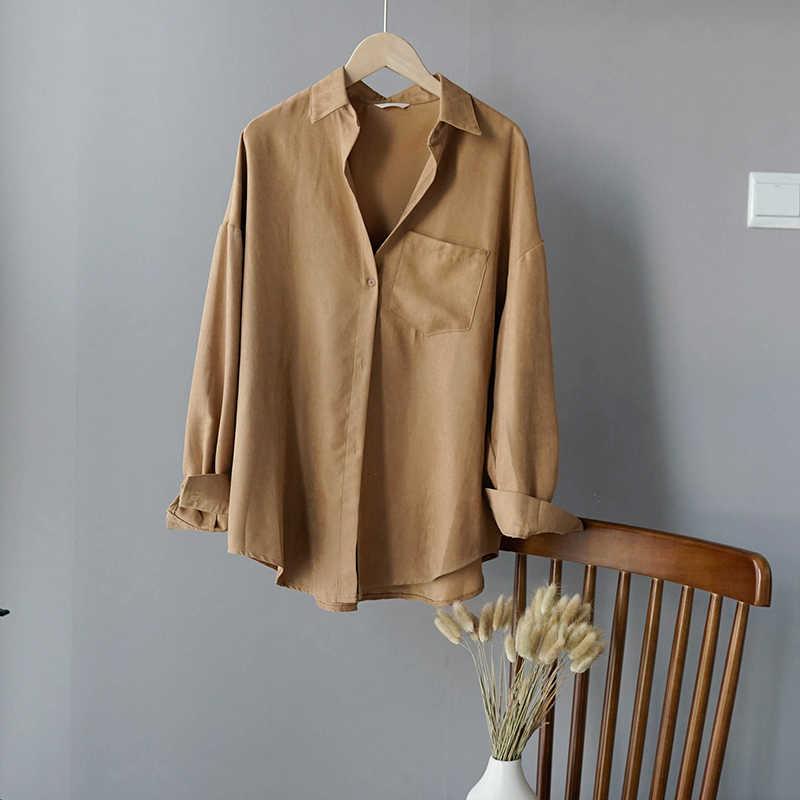 Lizkova 흰 블라우스 여성 스웨이드 긴 소매 공식 셔츠 2020 봄 옷깃 숙녀 블라우스 Streetwear 8866