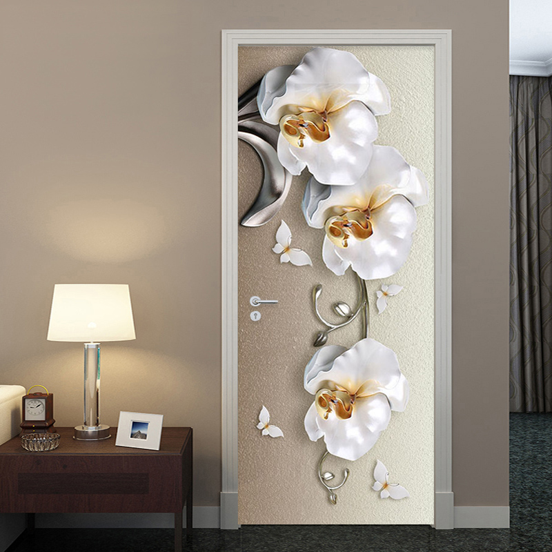 PVC Self-Adhesive Waterproof Door Sticker European Style 3D Stereo Butterfly Orchid Flowers Mural Wallpaper Luxury Wall Stickers