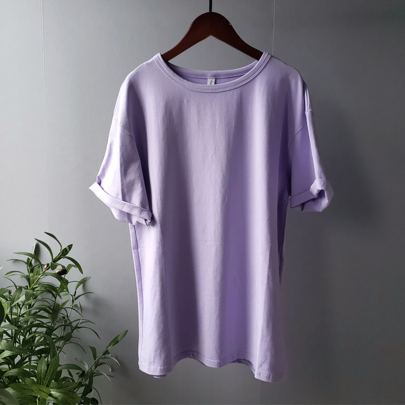 toppies summer t-shirts harajuku oversized t-shirts womens solid color 95% cotton korean fashion girls tees