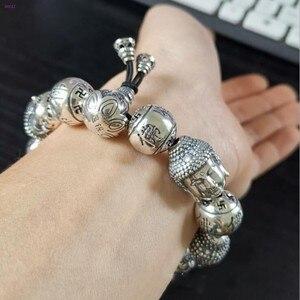 Image 3 - BOCAI  Buddha S999 pure Silver Bracelet Pure silver bracelet man Thai silver mens Buddha beads Bracelet Silver Bracelet for men