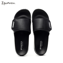 Men Indoor Outside Slippers PU Leather Mens Summer Casual Shoes Soft Bottom Non slip Male Beach Sandals Fashion Slides SH042502