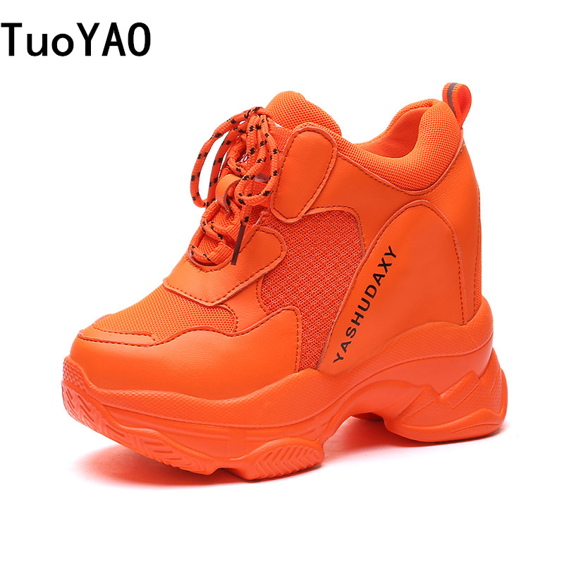 New 2019 Fashion Women Platform High Heels Mesh Breathable Wedge Casual Shoe 13CM Autumn Thick Sole Sneakers Woman Outdoor Shoes