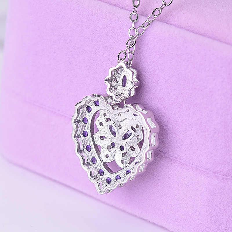 Zarif tam dolu mor kristal kelebek kolye kolye kadınlar için şık kalp gerdanlık Neklaces gümüş zincir takı