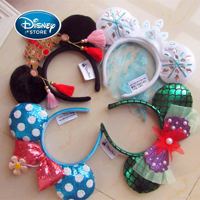 Disney Minnie Mickey Ears Accessories Cartoon Headdress Hair Accessories Kawaii Plush Toy Birthday Gift For Girls Headband Toys