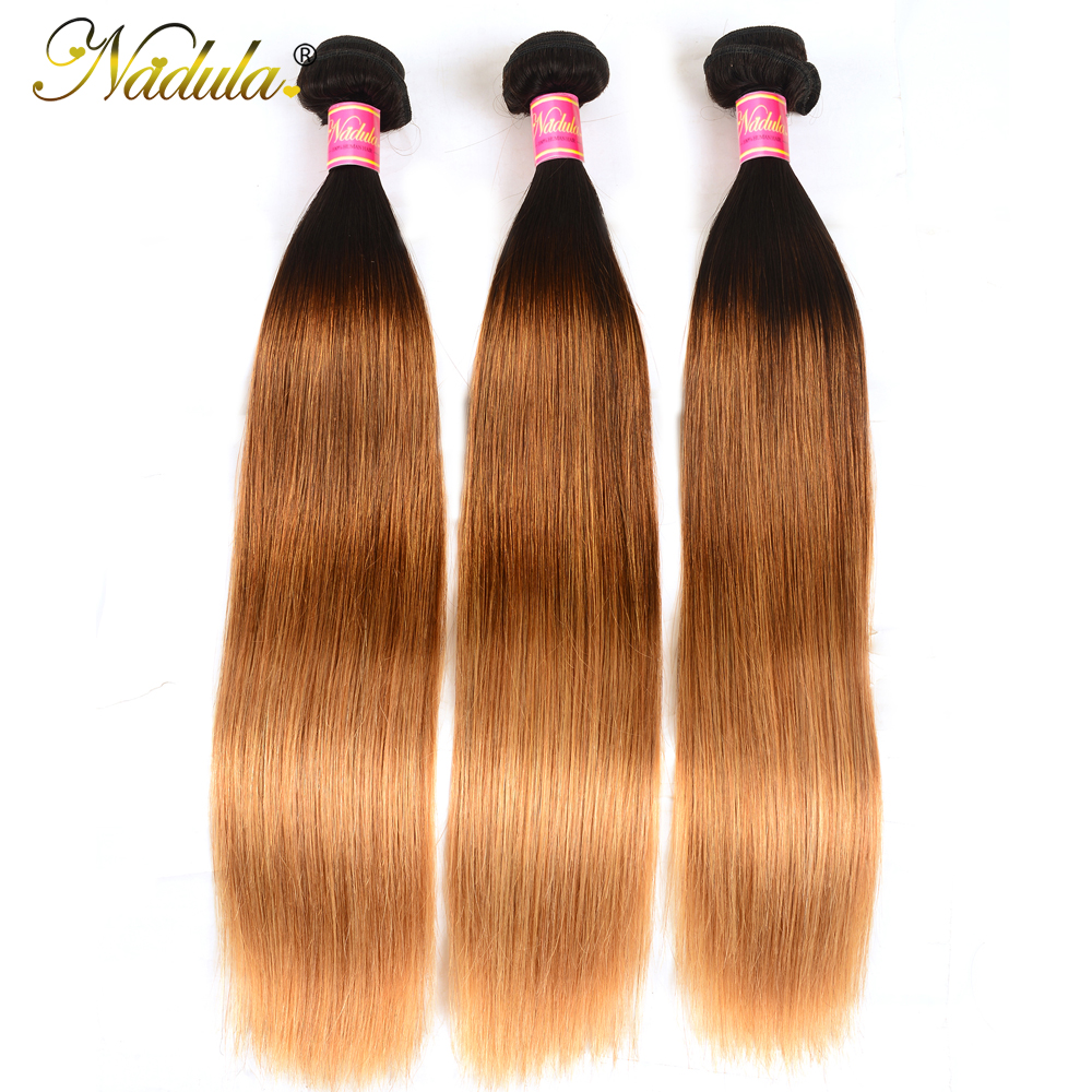 Nadula Ombre Hair Bundles 16-26inch  Straight  s 1B/4/27 Color  Hair  1