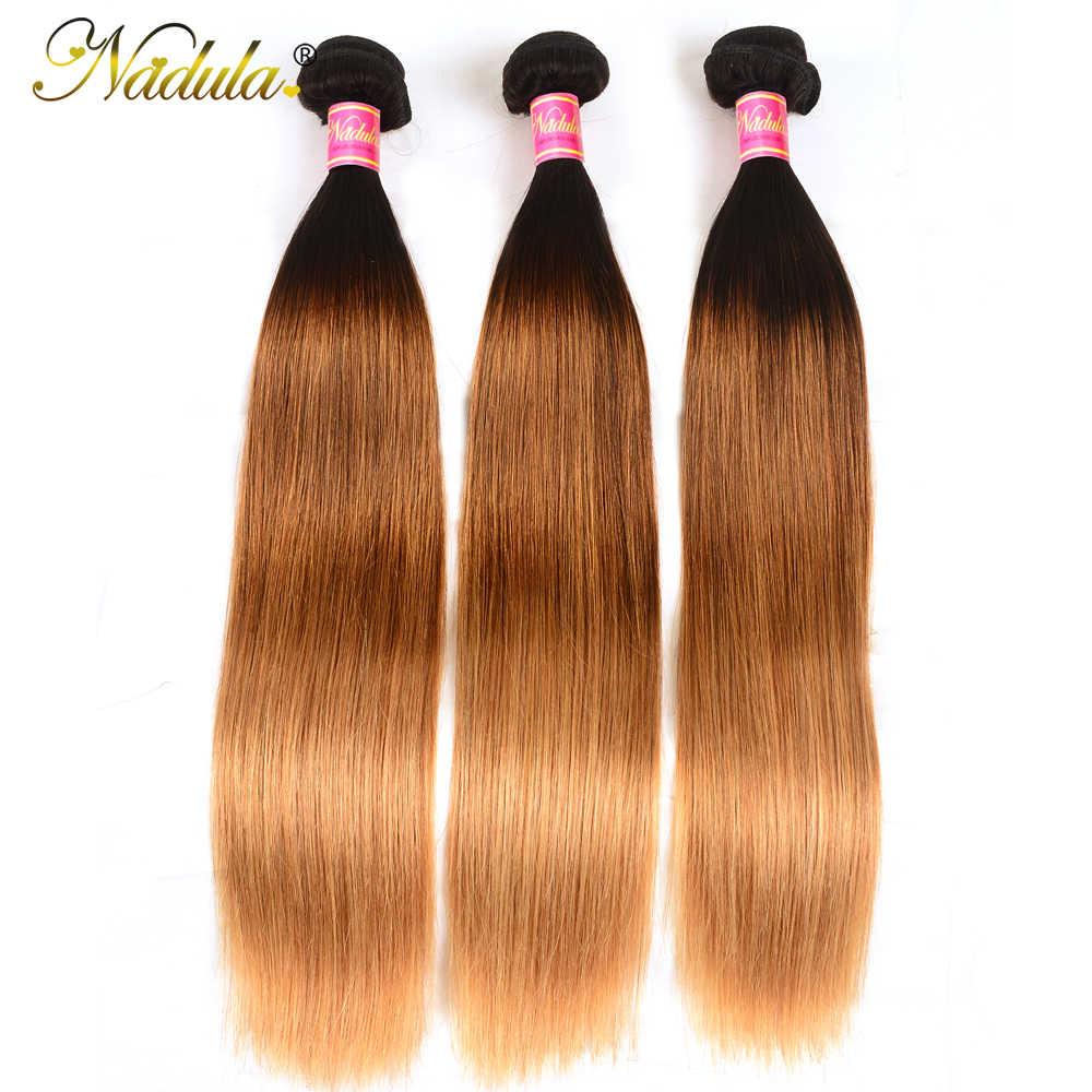 Nadula Ombre Пучки Волос 16-26 дюймов перуанские прямые человеческие волосы для наращивания 1B/4/27 цвет Remy волосы бесплатная доставка