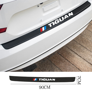 Auto Rear Bumper leather Stickers For Carbon Fiber Protector Car Trunk Guard Plate Film for Volkswagen VW tiguan 2018 2019 2017 car stickers exterior accessories for volkswagen vw golf7 exterior trunk scuff plate rear door protector car styling auto parts