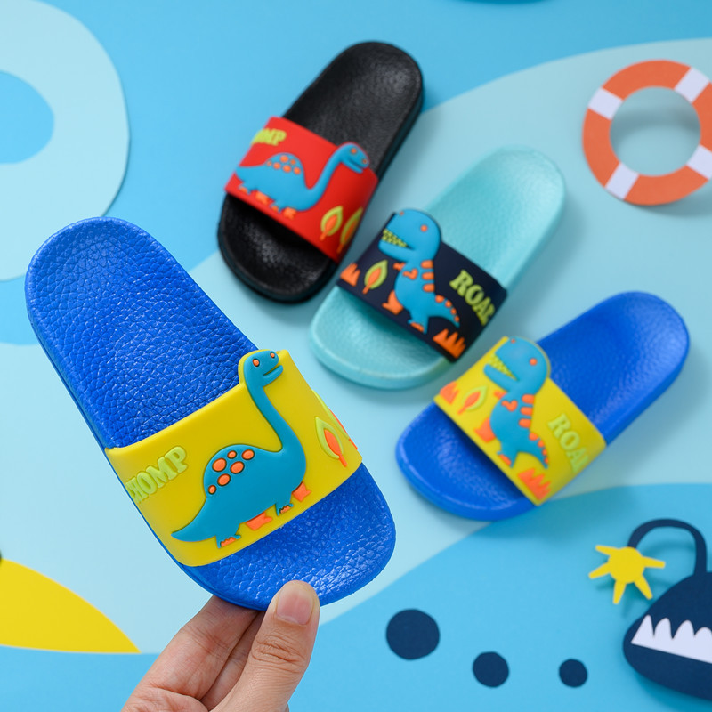 Boys Cartoon Dinosaur Slippers Toddler Outdoor Flip Flops Girls Soft Non-Slip Bathing Shoes Kids Summer Home Shoes Zapatillas