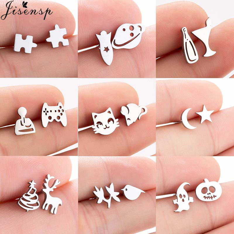 Jisensp Korean Fresh And Simple Asymmetrical Earrings Lovely Cat And Mouse Stainless Steel Earrings Fashion Jewelry For Women