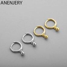 ANENJERY – boucles d'oreilles rondes simples en argent Sterling 925, pendentif, petites créoles, cadeau pour amis