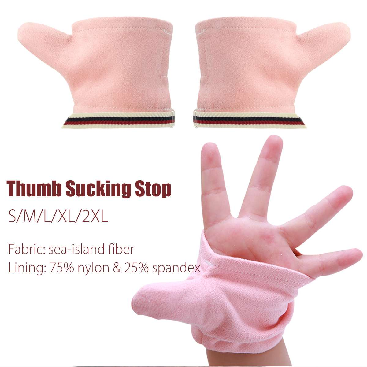 1 Pair Thumb Finger Sucking Stop Gloves Protect Finger Guard For Baby Kids Give Up Sucking Fingers Pink