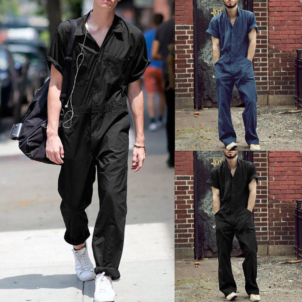 Bib Overalls For Man Suspender Pants Men's Suit Jumpsuits High Street Distressed 2020 Summer Fashion Polyester Male Plus Size