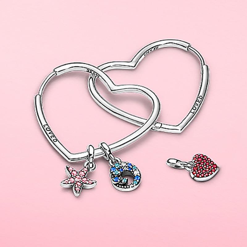 S925 prata cor aros brincos para as mulheres amor gotas earings caber original diy declaração balançar brincos na moda