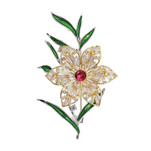 South Korea fashion zircon flower brooch contracted for Women temperament corsage joker sweater pin decorative personality