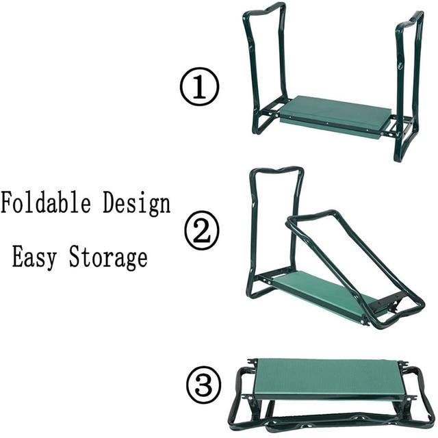 Garden Kneeler and Seat Folding Stainless Steel Garden Stool with Tool Bag EVA Kneeling Pad Gardening Gifts Supply 3