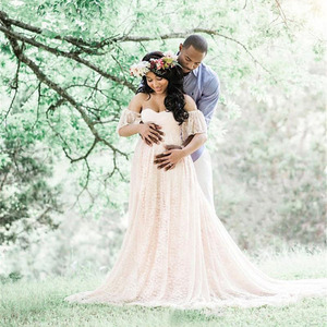 Image 2 - Robe longue de maternité, accessoires de photographie, pour femmes enceintes, robe Maxi pour séance Photo