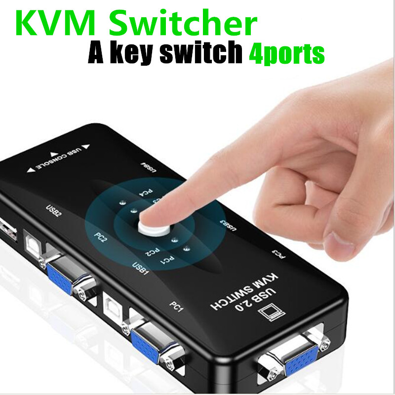 KVM Switcher 4ports VGA USB 2.0 HUB Adapters Free Drive 1080p Interface For Projector Printer TV Box Computer Several PC
