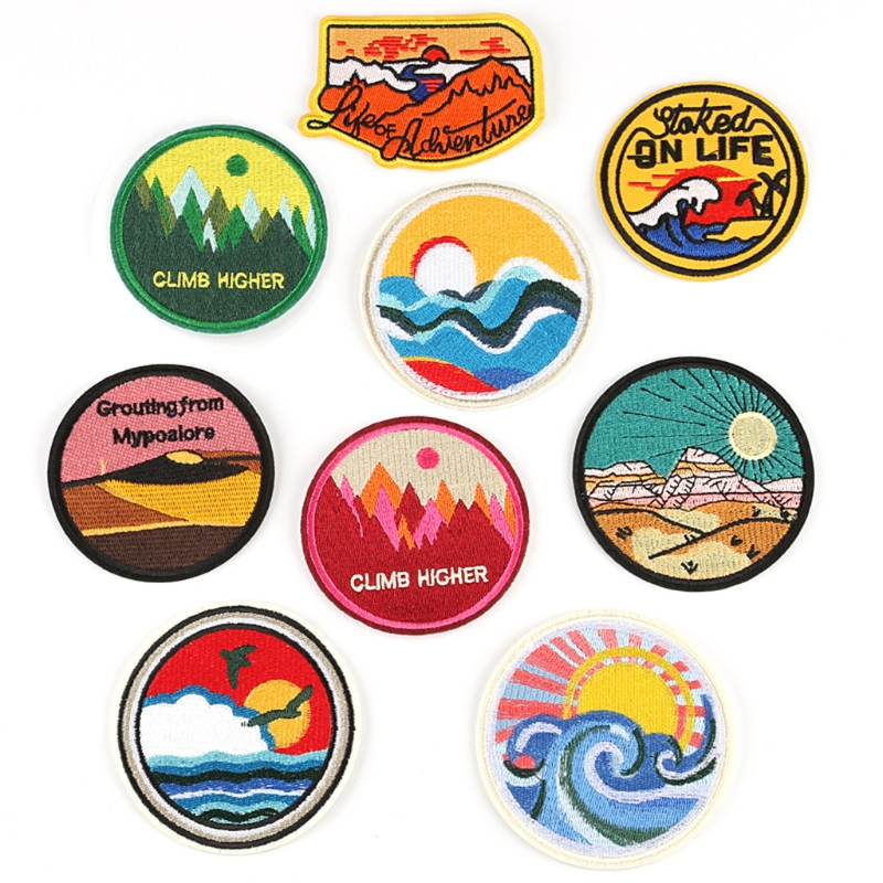9 Pcs Cloth Patch Circular Badge Embroidery Patch Jacket Decorative Sewing DIY Patch Garment Accessories