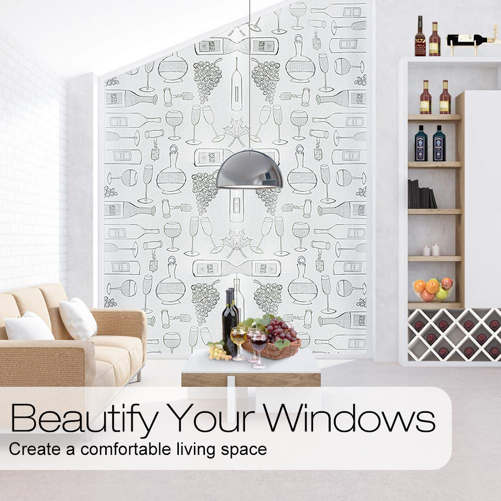 LUCKYYJ Decor Privacy Window Film Frosted Self-adhesive Film Static Cling Window Sticker Anti UV Glass Film for Home Kitchen 5