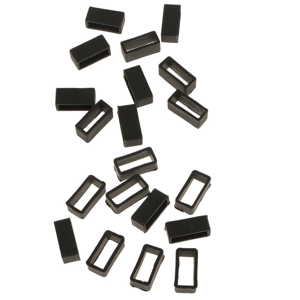 20pcs Watch Strap Retaining Hoop Loops Retainer Holder Ring Keeper Black
