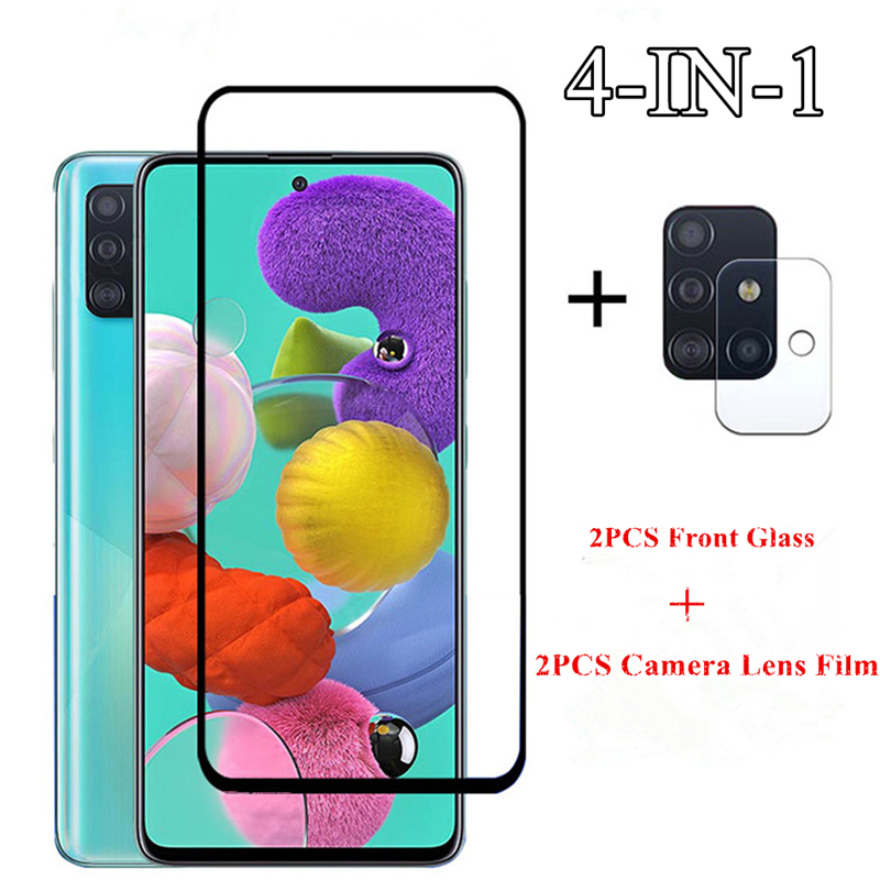 2PCS For Samsung Galaxy A51 Glass For Samsung Galaxy A11 A21 A31 A41 A71 M31 M21 Tempered Glass Screen Protector Camera Len Film