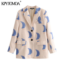 KPYTOMOA Women 2020 Fashion Office Wear Print Blazer Coat Vintage Long Sleeve Po