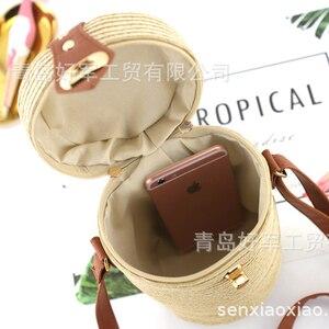 Image 5 - バケツ形の pp 草カジュアル織女性のバッグレトロメッセンジャーわらビーチバッグ