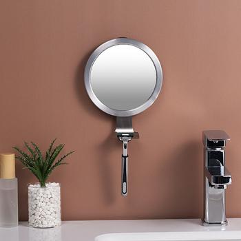 Łazienka mocna ssawka lustra łazienkowe Fogless wanna prysznic lustra przeciwmgielne lusterko do makijażu z uchwyt do maszynek do golenia tanie i dobre opinie ROUND Fog-Proof Mirror Other
