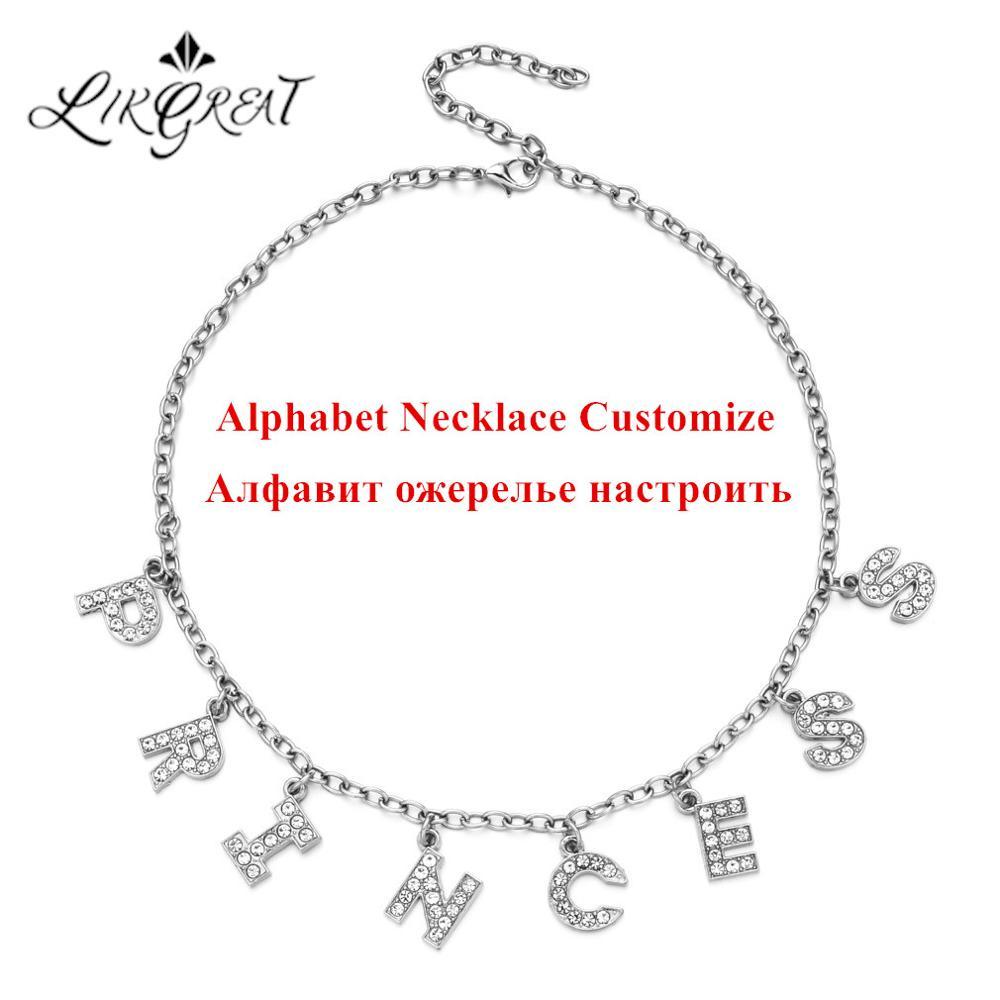 LIKGREAT Letter Necklaces Customized Women 26 Alphabet Rhinestone Crystal Pendant Necklace Chocker Personlized Punk Jewelry Gift