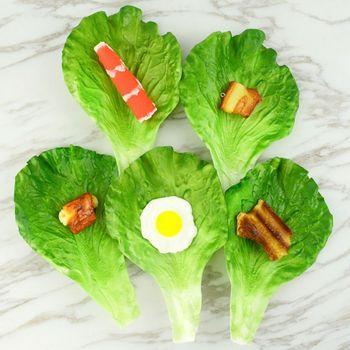 Sztuczne liście sałaty warzywnej symulacja fałszywe realistyczne dla dekoracji festiwalu kuchni domowej tanie i dobre opinie ANENG CN (pochodzenie) 1 pc app 19 5x13cm 7 68x5 12in