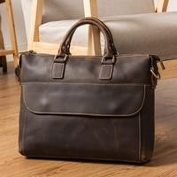 MAHEU Luxury Brand Design Laptop Handbag Crazy Horse Leather Laptop Bag Vintage Computer Handbags PC Shoulder Bag For Men Male
