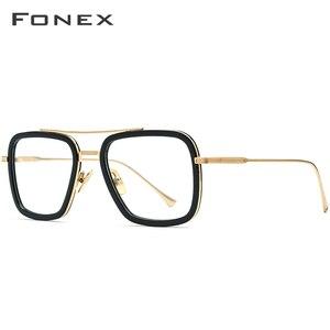Мужские очки FONEX из чистого титана, ацетатные очки в стиле ретро, очки Tony Stark, оптические очки для близорукости, очки по рецепту Edith, 8512