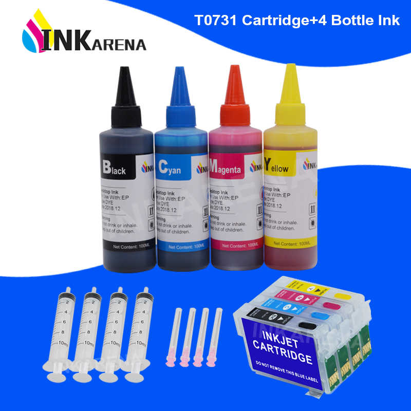 Inkarena T0731 XL Tinta Printer Cartridge + 400 Ml Tinta untuk Epson Stylus C79 C90 C92 C110 CX3900 CX3905 CX4900 CX4905 CX5500 CX9300F