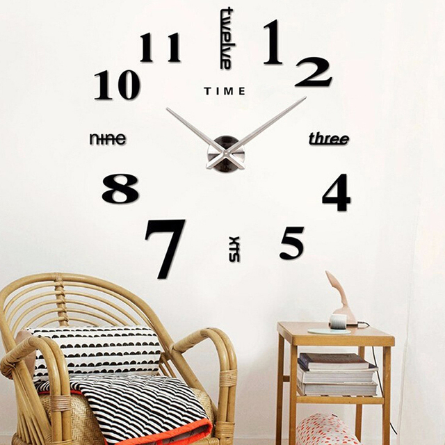 DIY Wall Clock 3D Mirror Clock Creative Acrylic Wall Stickers Living Room Quartz Needle Europe horloge Home Decor Drop shipping 1