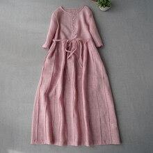 Летние Новые поступления женские повседневные короткие базовые свободные размера плюс Мори девушки японский стиль плиссированные удобные тонкие платья из ткани рами